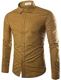 Usopu Camisa de Manga Larga de Corte Slim y Color Sólido Informal para Hombres Informal