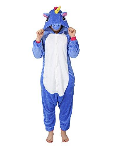 Einhorn Pyjamas Kostüm Jumpsuit Tier Schlafanzug Erwachsene Unisex -