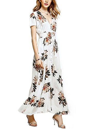 Angelady böhmisches Frauenkleid Knopf am Schlitz Blumenmuster kurzarm Strand Maxi Frauen Kleid White