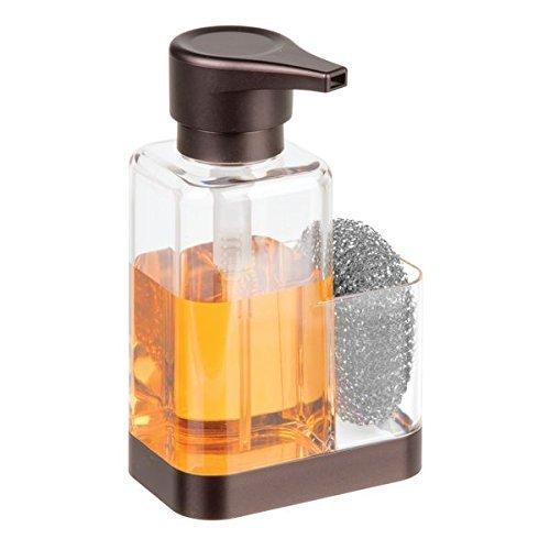 mDesign Dosificador de jabón con soporte para esponja – Dispensador de jabón de manos para fregaderos – Dispensador de jabón en espuma de plástico y recargable – transparente/bronce