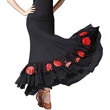 P Prettyia Falda Larga de Mujer Cintura Alta Elástica Bordado de Flores con Lentejuelas para Baile