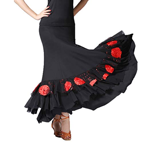 IPOTCH Falda Flamenco Volante Mujer - Negro + Rojo