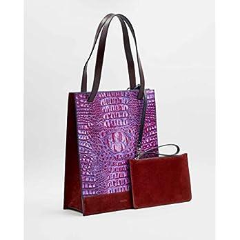 SOOFRE Berlin Unique Shopper Bag FRIDA aus Rindsleder, Croco – Purpur Lila | Burgund