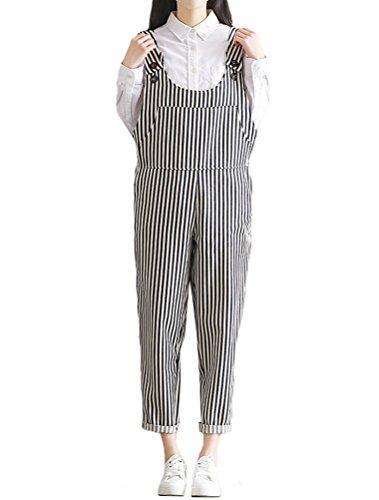 MatchLife Damen Breite Beine Hosen Loose Denim Jeans Jumpsuit Latzhose Overalls (Fits Größe 40-46, Style17-Streifen)
