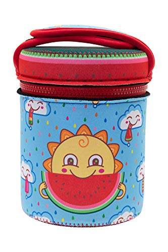 Laken - Recipiente Termico Unisex, in Acciaio Inox, 1 litro, con Copertura Colorata, Design Frekito Due contenitori ermetici da chiudere, Blu Fresco.