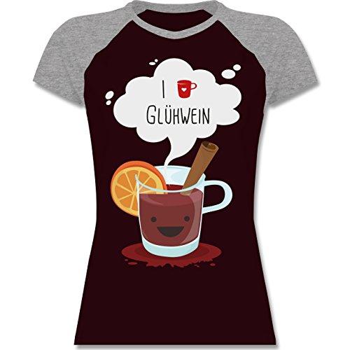 Weihnachten Silvester I love Glühwein glückliche Tasse zweifarbiges  Baseballshirt / Raglan TShirt für Damen Burgundrot/Grau meliert
