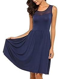 Zeagoo Damen Ärmellos Kleider Spitzenkleid Knielang Ballkleid Festliches  Kleid Abendkleid Partykleid A-Linie mit Gürtel a93c359d28