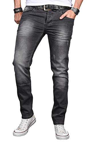 A. Salvarini Designer Herren Jeans Hose Basic Stretch Jeanshose Regular Slim [AS046 - Dark Grey - W31 L30]
