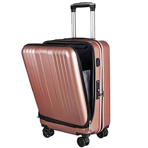 FDSjd Cassa di carico del carrello di imbarco di affari di USB dei bagagli del PC della borsa del computer anteriore della parte anteriore a 20 pollici (colore : Oro rosa)
