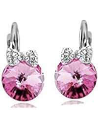 Pendientes dormeuses cristal Swarovski Elements rosa