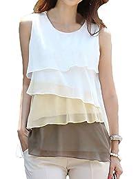 TOOGOO(R)Lindo gasa de las mujeres Camiseta de Tirantes Cascada Volantes Sin Mangas de La Blusa de La Camisa Marron L