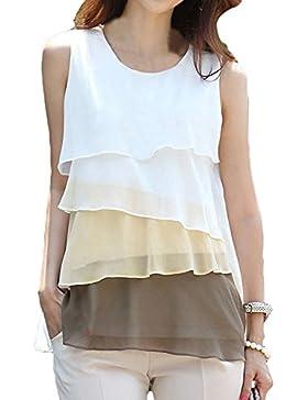 TOOGOO(R)Lindo gasa de las mujeres Camiseta de Tirantes Cascada Volantes Sin Mangas de La Blusa de La Camisa Marron XL