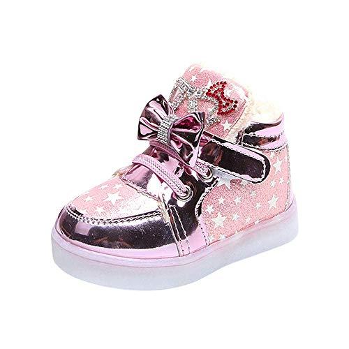 Kinder Kind Mädchen Stern Bowknot Kristall Mesh Led Licht Leucht Turnschuhe Schuhe Baby Warme Winter Kinder Kleinkind Infant Casual Fashion Atmungsaktive Schnürstiefel 6.5 UK,Pink -Cotton -