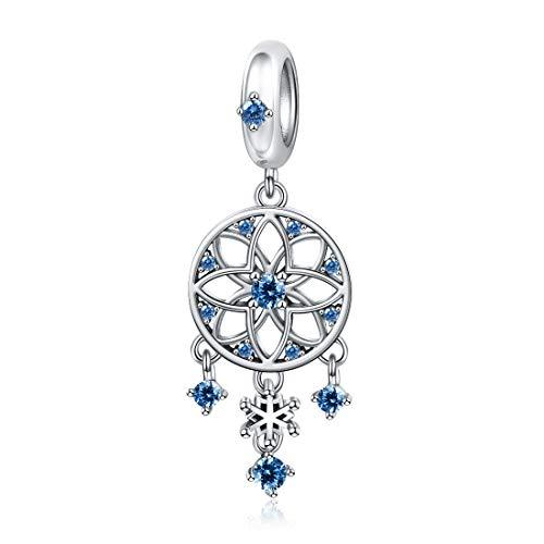 JIAYIQI - Abalorio atrapasueños de copo de nieve de plata de ley 925 compatible con pulseras Pandora y collares para mujeres, regalo de Navidad