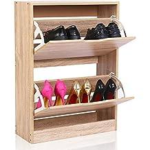 EASEASE scarpiera in legno scarpe armadio scarpiera da ingresso con 2  scomparti mobile scarpiera in legno ddee2b6f8cd