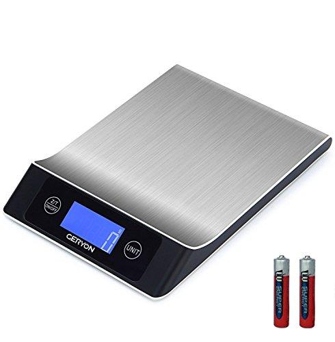 'kuechenwaage klein gerione in acciaio inox multifunzione bilancia digitale, 11lb/5kg scale 2.2lcd display (batterie incluse)