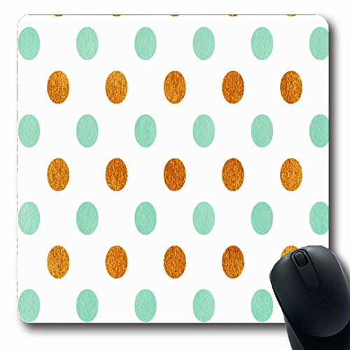 Luancrop Mousepads Seafoam geometrisches Aquarell-blaues Acryl klassisches goldenes Polka-Muster Polkadot Luftblasen-Kreis-Punkt-rutschfeste Spiel-Mausunterlage Gummi-längliche Matte
