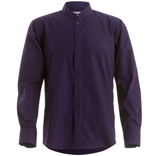 Herren Stehkragen Langarm Fitted Shirt von Kustom Kit Purple