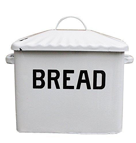 Creative Co-op Enameled Metal Bread Box, White by Creative Co-op White Bread Box