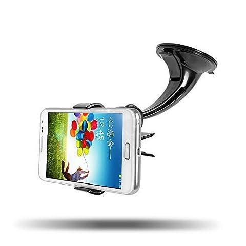 IBRA® Support Voiture avec Rotation à 360°et Ventouse extra forte, fixation sur de Bord pour iPhone 7/7 Plus 6s / 6 / 5S / C / 5 / 4S, Samsung Galaxy S5 S4 S3, Galaxy Note 1/2/3/4, / HTC / Sony Xperia / Nokia / LG / GPS TomTom, Garmin et d'autres appareils