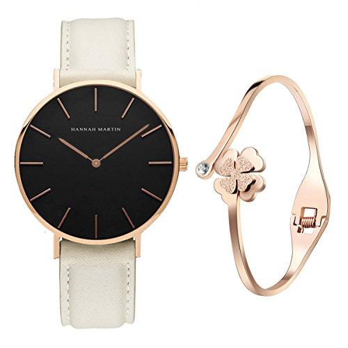 XLORDX Classic Damen-Armbanduhr Analog Quarz Weiß Leder Armband, Schwarz Zifferblatt mit Elegant...