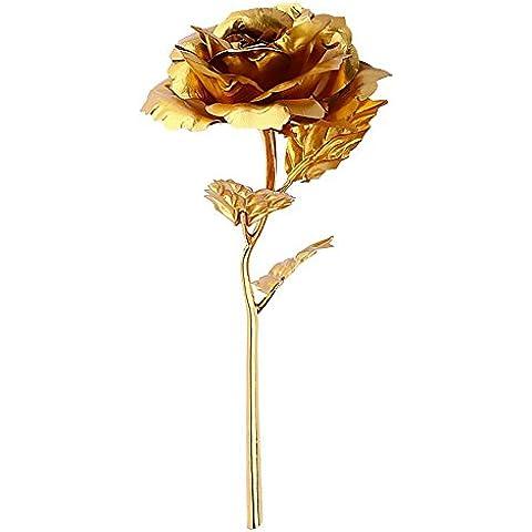 Zyurong floreale Foil Oro 24K oro rosa fiori con certificato per il giorno di San Valentino