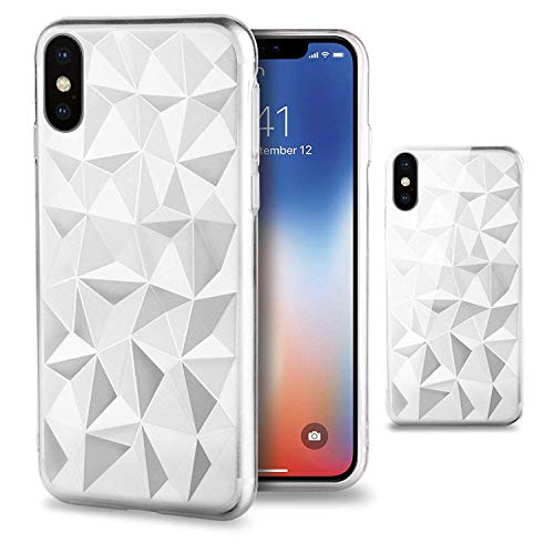 ALPHA W1 Transparent Silikon Case Hülle für iPhone XR/iPhone XS mit 3D Prisma Diamant Muster Muster Design Transparent - Weiche TPU Slim Fit Cover Silikon 3d Iphone