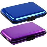porta carte di credito in alluminio antiurto - Portafoglio Donna e Uomo Unisex - 2pz (Viola e blu)