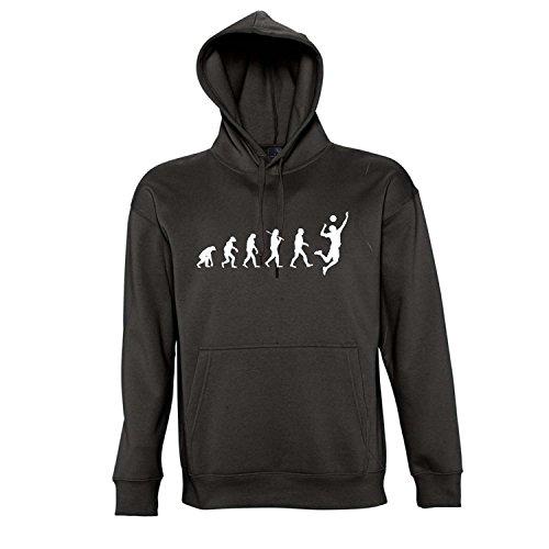 EVOLUTION - Volleyball Sport - Kapuzen Sweatshirt - Pullover S-XXL , Deep black - weiß , M