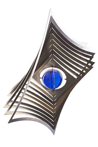A2004 - steel4you hochwertiges 3D Windspiel aus Edelstahl mit Glasperle - Raute 19cm x 19cm - made in Germany