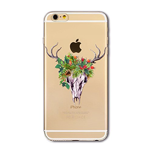 Noël Coque iPhone 7 / iPhone 8 LifeePro Ultra Mince Transparent Doux TPU Gel Silicone Antichoc Anti-rayures Full Body Étui Housse de Protection Christmas Cover pour iPhone 7 / iPhone 8 Rock Man Deer