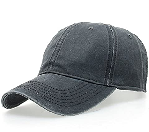 Thenice Washed Cotton Twill Baseball Cap Adjustable Sport Hat (Dark Grey)