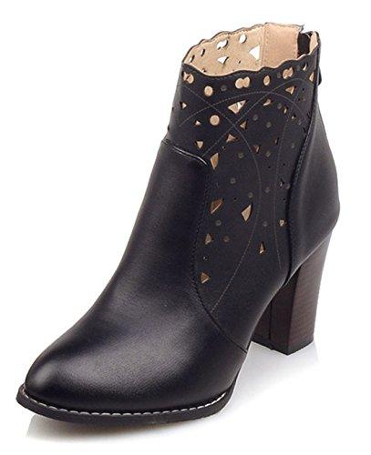 YE Damen High Heel Cut Out Stiefeletten mit Blockabsatz 8cm Absatz Fashion Designer Short Ankle Boots Herbst Schuhe Schwarz