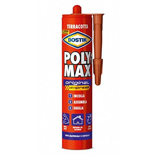 Bostik poly max original express terracotta colla di montaggio e sigillante universale super rapido e super forte cartuccia 425g beige