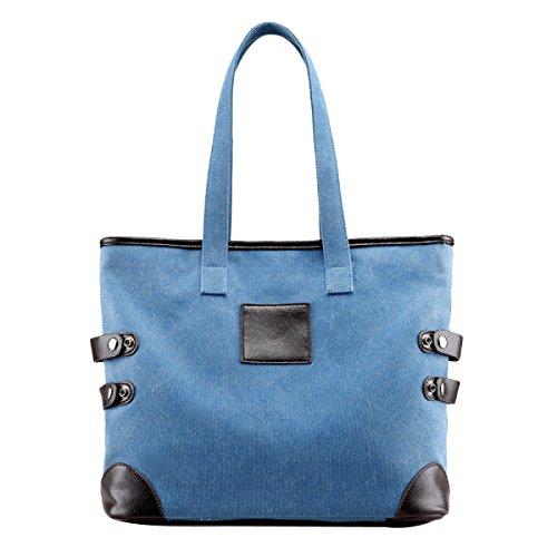 Leinwand Damen Breathable Freizeit Große Kapazität Wearable Einzelne Schulterbeutel Blue
