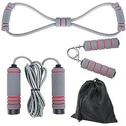 Elgary Cuerda para Saltar, Velocidad Cuerda, Ejercicios de Agarre, Bandas de Resistencia de Salto con Mango de Espuma de Suave y Cuerda Ajustable Libre