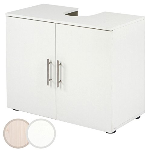 Aquamarin Under Sink Storage Unit (2 Doors and Shelves) Bathroom Under Basin Sink Storage Cabinet Moisture Resistant Bath Cupboard CHOICE OF COLOURS (White)