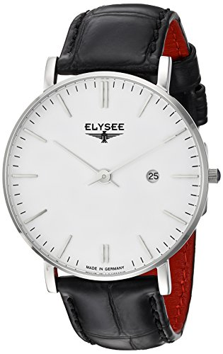 Elysee Zelos Mens Watch Silver Leather Bracelet Black