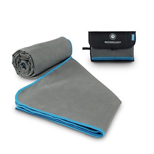 Mikrofaser Handtücher Original BERGBRUDER Reisehandtuch - (Grau-Blau, M 120x60 cm)