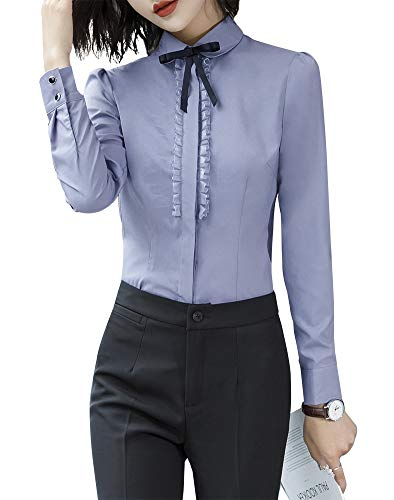LISUEYNE Damen Büro-Blusen mit Knopfleiste für Damen, langärmelig Gr. Large, Greyts-6115l - Schwarzes Jersey, Drape-Ärmel Top