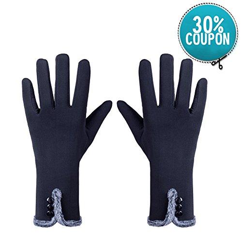 Warme Winter-handschuhe (GLOUE Warme Handschuhe Winter Handschuhe Seide Handschuhe Damen Touchscreen Handschuhe Radfahren Motorradfahren Innen Outdoor Schwarz)
