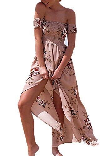 Femme Robe de plage Bohême Longue Floral Ete Sexy Bas Irrégulière Plissée Style Epaule nu Col Beatou (XL, rose)