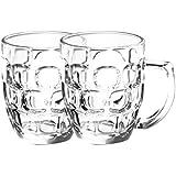Treo By Milton Cascade Beer Mug,292ml, Set of 2, Transparent