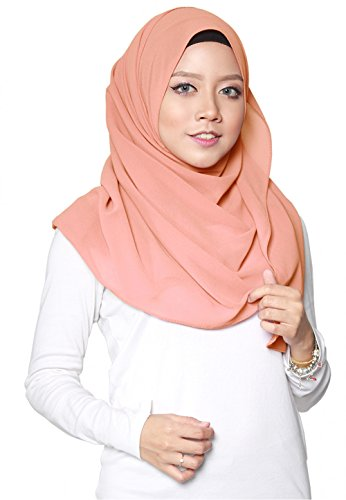 SAFIYA - Hijab Kopftuch für muslimische Frauen I Islamische Kopfbedeckung 75 x 180 cm I Damen Gesichtsschleier, Schal, Pashmina, Turban I Musselin / Chiffon - Lachsfarben
