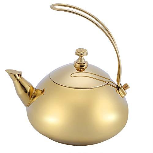 Fdit 1.5L Edelstahl Wasserkocher Klassische Teekanne Elektrischer Wasserkocher Schnelle Wasser Heizung Kochenden Topf MEHRWEG VERPACKUNG socialme-eu(Gold)