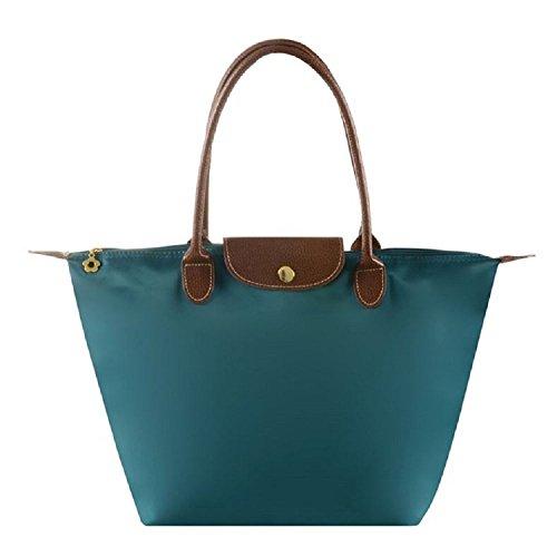 ZhengYue Cabas en Oxford Pour Femme Sac à Bandoulière de Pliage Grande Capacité Sac a Main Sac de Shopping pour Femme Dark green L