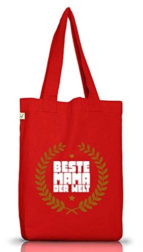 Geschenkidee Jutebeutel Stoffbeutel Earth Positive mit Auszeichnung Beste Mama der Welt Motiv Red