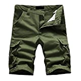 B-commerce Herren Sommer Hip Pop Stilhose Reine Farbe Baumwolle Multi-Pocket Overalls Shorts Mode Business Büro Lässig Cargo Hose Männer