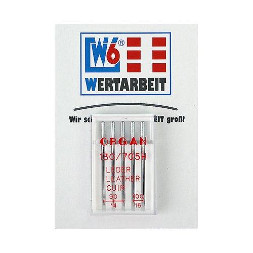 Original W6 Wertarbeit Nähmaschinennadel 130 / 705 H Leder 90-100 Sortiment 5 Stück