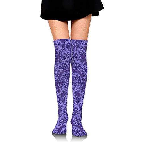 CVDGSAD Knee High Socken Purple Pattern Long Socken Boot Stocking Compression Socken for Women - Purple Knee High Boots